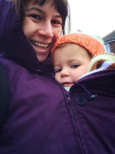 A special coat designed for babywearing